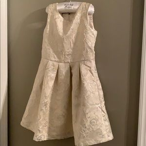 Girls ivory with silver roses dress